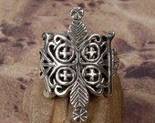 PAPA LEGBA RING - Sterling Silver Voodoo Veve Lwa Vodou - Made To Order in Your Size