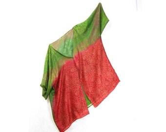 Silk Kimono Jacket Gypsy Jacket Gift for Her Eco Fashion Sari Silk Jacket Silk Jacket Summer Spring BOHO Fashion Upcycled Hippie Red Green