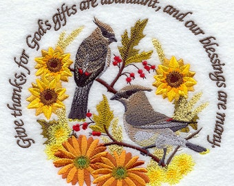Our BLESSINGS Are Many With FLOWERS & BIRDS- Machine Embroidered Quilt Blocks (AzEB)