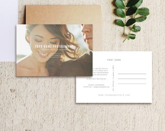 Vintage Postcard Template - Photo Marketing Digital Download - Wedding Photography Photoshop Template - Design By Bittersweet