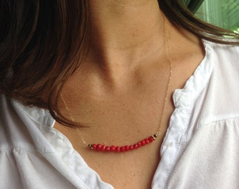 Red Bamboo CORAL necklace. 14k Gold Filled. Made in Hawaii. Perfect Birthday Wedding Christmas BFF GIFT Souvenir Beach Ocean Memorabilia