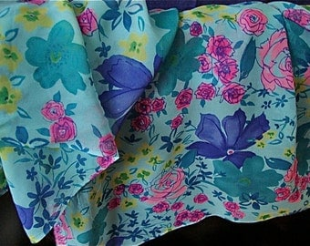 Two Yards 72 inches by 45 inches Chiffon Silk Fabric Florals blues pinks yellow Unused