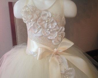 Ivory flower girl  tutu dress 2T vintage look floral