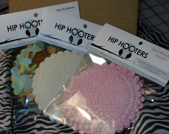 3 x Hip Hooters..breast feeding pads..nursing pads with PUL..washable..organic cotton and bamboo..in 'Mystery Bundle'