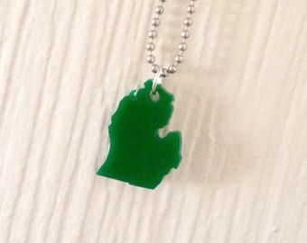 Small Michigan Green Necklace, State Jewelry, State Pride, Lasercut Necklace
