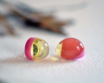 925 sterling silver pink honey glass stud earrings