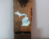 Beer bottle opener, rustic bottle opener, Michigan bottle opener, groomsmen gift, Father's Day gift,  reclaimed wood, bar accessory