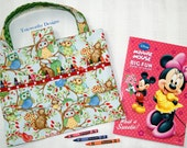 CLEARANCE - 35% Discount - Coloring Book and Crayon Tote, Owls, Child's Art Supplies Holder, Markers, Colored Pencils,  KidsTravel Activity