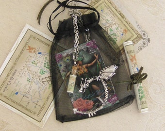 Dragon ear cuff, glass vial pendant, map set.