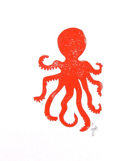 PRINT - Octopus RED linocut 8x10 letterpress marine animal
