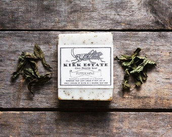Peppermint, Grasshopper, large bar, cold process soap, handmade, natural, organic ingredients, herbal vegan, lightly scented, bath + body