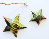 Rogue Ales Grenade Can Military Tribute Stars, Recycled Ornamental Stars - Set of 2