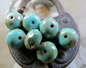 NEW Turquoise Shimmer . CZECH PICASSO Beads (10 beads) 6 by 8 mm