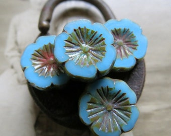 NEW Chunky Sky Blooms . Czech Pressed Glass Beads . 15 mm (4 beads)