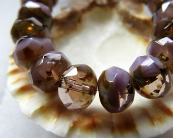 NEW LAVENDER SWIRL . Czech Picasso Glass Beads (10 beads) 6 by 8 mm
