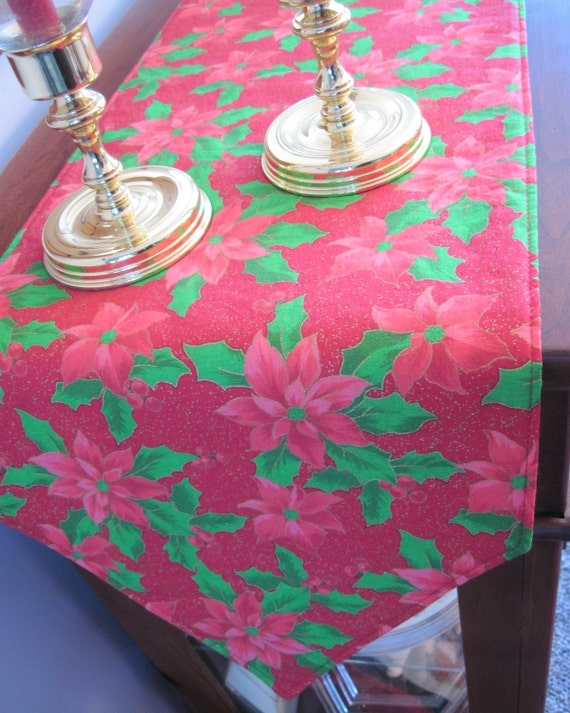 120 red poinsettia table runner reversible christmas