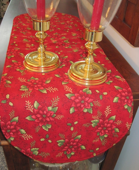 red poinsettia table runner 36 inch reversible red poinsettia. Black Bedroom Furniture Sets. Home Design Ideas