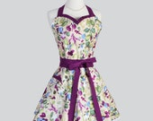 Sweetheart Retro Apron - Painterly Ivory and Eggplant Floral Modern Elegant Full Kitchen Apron