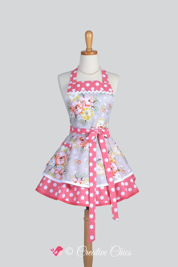 Ruffled retro apron coral and gray floral polka by for Anthropologie cuisine couture apron