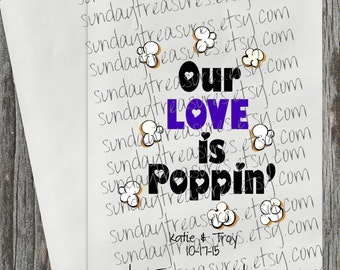 20 Bags Our Love is Poppin / WEDDING Bridal Shower Party Favor Gift Bags / Hearts / PURPLE / Candy Popcorn Bag / Personalized 3 Day Ship