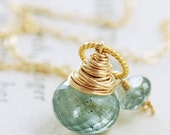 Moss Aquamarine Necklace March Birthstone Jewelry Wrapped in 14k Gold Fill, Teal Green Gemstone Pendant