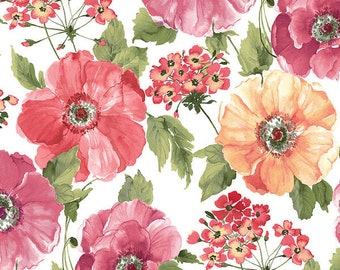Sundance by Benartex  Cotton Fabric  04780-09  Large Poppies on White