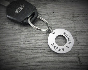 Keychain with 2 custom names, Gifts for Men, Gift for Him, Gift For Her, Boyfriend Gift, New Car Accessory, Key Chain, Key Identification