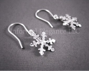 Sterling Silver Dangling Snowflake Earrings