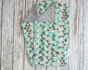 Two Gray Triangle Baby Burp Cloths With Gray Minky Backs, Minky Baby Burp Cloth, Teal and Gray Burp Cloth