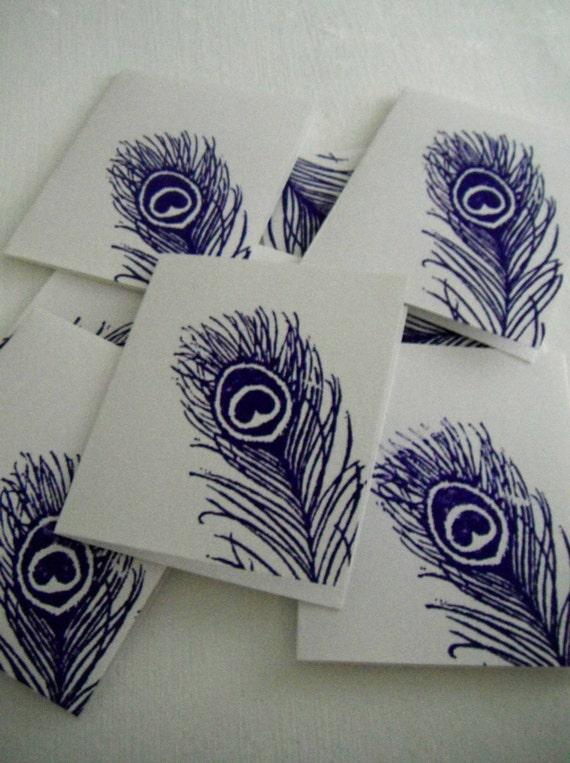 Beautiful Peacock Feather Mini Note Cards