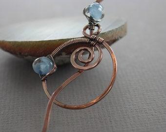 Shawl pin or scarf pin with spiral circle and aqua blue Unicorne lampwork glass