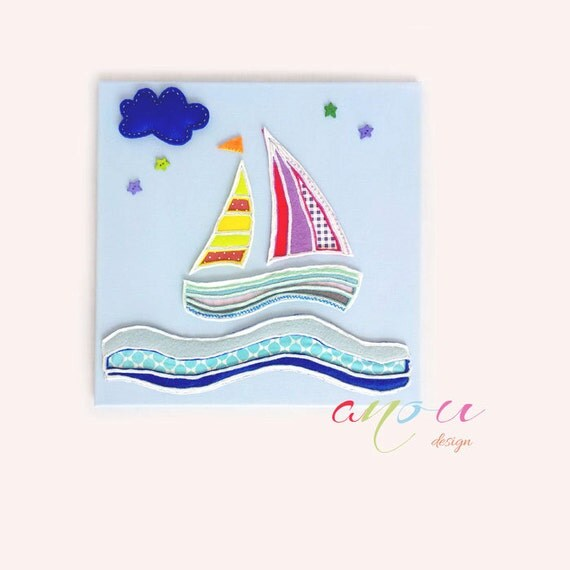 "Nursery art canvas, Children nursery wall art, Art for baby boys room, Boat in felt, Canvas 16 x 16"""