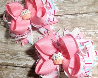 Birthday Cupcake Pigtail Hair Bows, Baby Headband, Newborn Headbands, Infant Headband, Baby & Toddler, Birthday Gift Set, Baby Shower Gift