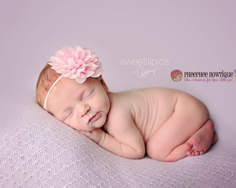Pink Flower Headband, Emma Petal, Newborn Headband, Baby Headband, Infant Headband, Photo Prop, Flower Girls, Weddings, School Bows