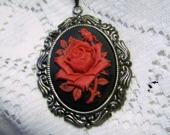 Victorian Red Rose, Floral, Bouquet, Antiqued Silver Necklace, Flower, Roses, Red and Midnight Black, Rococo, couture noir, Rose Cameo