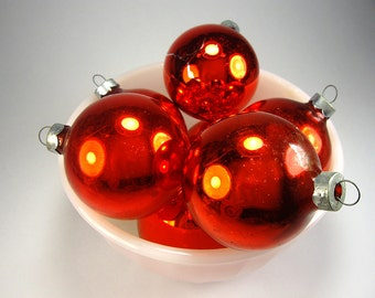 Red Glass Ball Ornaments, Set of Seven, by Coby, Festive Tree Trimming, Christmas Home Decor, Holiday Crafting