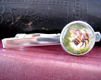 Vintage Bumble Bee Watercolor Illustration Silver Tie Clip/Tack from 1960 Children's Insects We Know Book