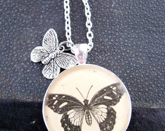 Vintage Black and White Butterfly Illustration Pendant with Sterling Silver Chain and butterfly Tibetin Silver Charm