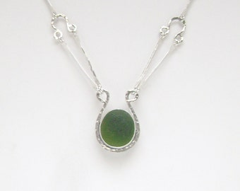 Sea Glass Jewelry - Sterling Forest Green English Sea Glass Necklace with Handmade Chain