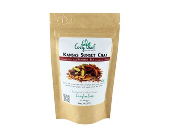 Kansas Sunset Chai Artisan Organic Loose Leaf Rooibos Herbal Tea by Cozy Leaf