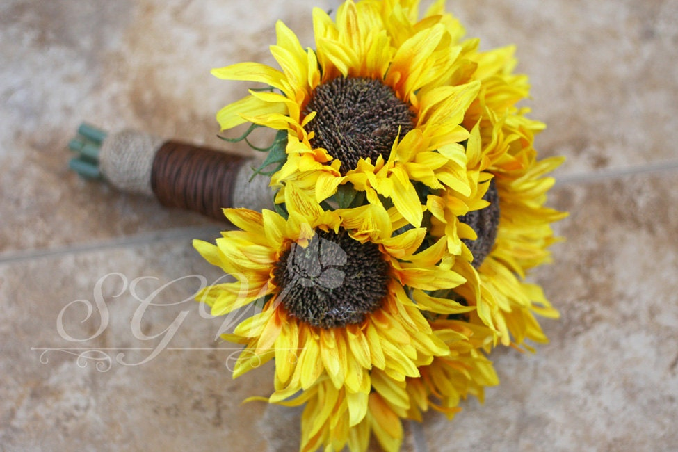 Bridesmaid Bouquets Sunflowers : Made to order sunflower wedding bouquet rustic country