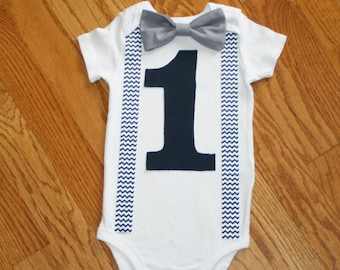 navy boys 1st birthday outfit, boy's bodysuit, gray chevron, 1st birthday outfit, birthday set, navy blue and gray, smash cake outfit