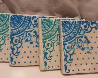 Aqua & Blue Filigree Beverage Coasters (set of 4)