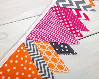 Bunting, Banner, Fabric Flags, Baby Girl Nursery Decor, Pennant, Garland - Magenta Pink, Grey, Bright Pink, Orange and Gray Chevron, Dots