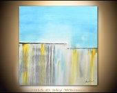 Large Original Painting Modern Contemporary Art Blue Gray Amber Square Abstract Painting Acrylic 36 X 36 by Sky Whitman