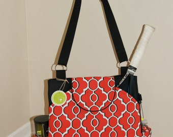 Large Tennis Bag Made from Water resistant vinyl Canvas-with Large Rounded Pockets-Made to Order.