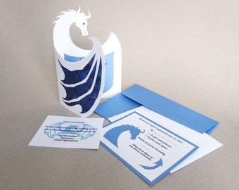 Wedding INVITATION SET Medieval Fantasy Renaissance Dragon Custom Invite