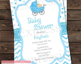 Baby Boy Stroller Baby Shower Invitation