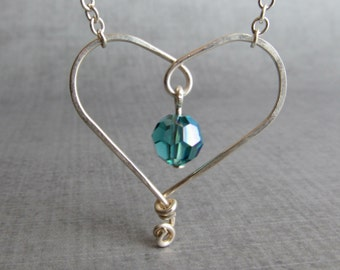 Teal Heart Necklace, Aqua Necklace, Wire Heart, Aqua Blue Crystal Necklace, Sterling Silver Wire Jewelry