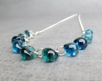 Ocean Blue Necklace, Blue Lampwork Necklace, Lampwork Glass Jewelry, Glass Drop Sterling Silver Necklace